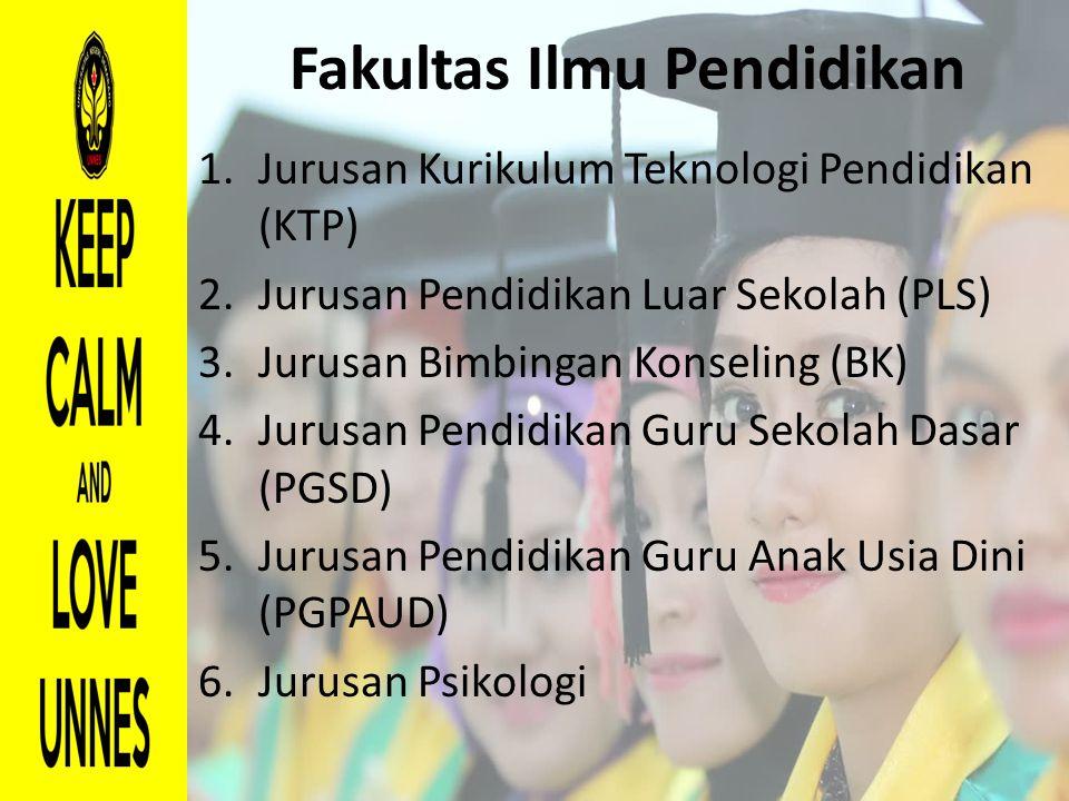 Fakultas Ilmu Pendidikan 1.Jurusan Kurikulum Teknologi Pendidikan (KTP) 2.Jurusan Pendidikan Luar Sekolah (PLS) 3.Jurusan Bimbingan Konseling (BK) 4.J