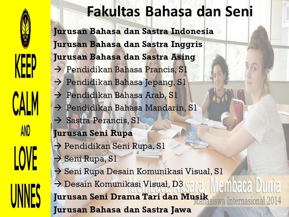 Fakultas Bahasa dan Seni Jurusan Bahasa dan Sastra Indonesia Jurusan Bahasa dan Sastra Inggris Jurusan Bahasa dan Sastra Asing  Pendidikan Bahasa Pra