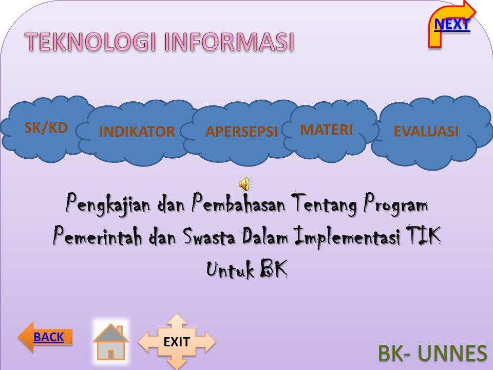 SK/KD INDIKATORAPERSEPSI EVALUASI MATERI NEXT BACK EXIT Pengkajian dan Pembahasan Tentang Program Pemerintah dan Swasta Dalam Implementasi TIK Untuk B