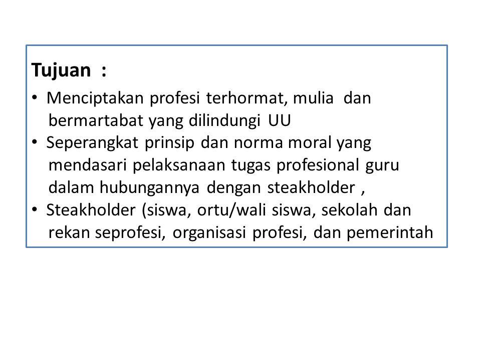 Kode Etik Guru Indonesia Bersumber dari : 1.Nilai-nilai agama dan Pancasila 2.Nilai kompetensi guru (pedagogik, kepribadian, sosial dan professional)  Permendiknas No.