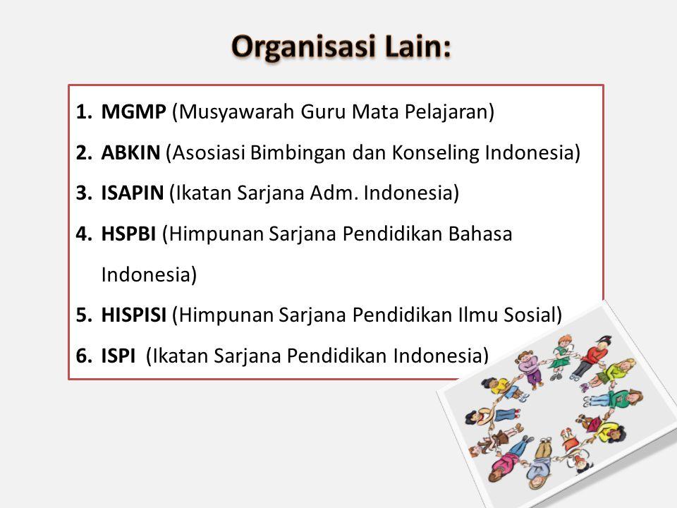 1.MGMP (Musyawarah Guru Mata Pelajaran) 2.ABKIN (Asosiasi Bimbingan dan Konseling Indonesia) 3.ISAPIN (Ikatan Sarjana Adm. Indonesia) 4.HSPBI (Himpuna