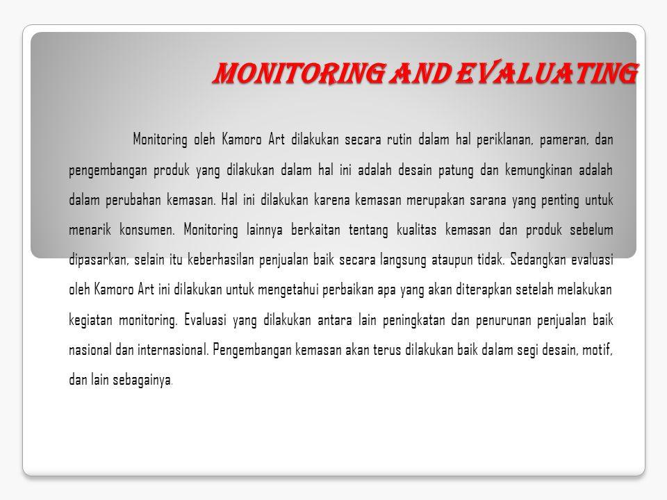 Monitoring and Evaluating Monitoring oleh Kamoro Art dilakukan secara rutin dalam hal periklanan, pameran, dan pengembangan produk yang dilakukan dala
