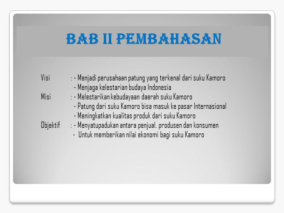 BAB II PEMBAHASAN Visi : - Menjadi perusahaan patung yang terkenal dari suku Kamoro - Menjaga kelestarian budaya Indonesia Misi : - Melestarikan kebud