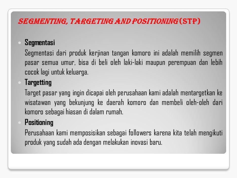 Segmenting, Targeting and Positioning (STP) Segmentasi Segmentasi dari produk kerjinan tangan komoro ini adalah memilih segmen pasar semua umur, bisa