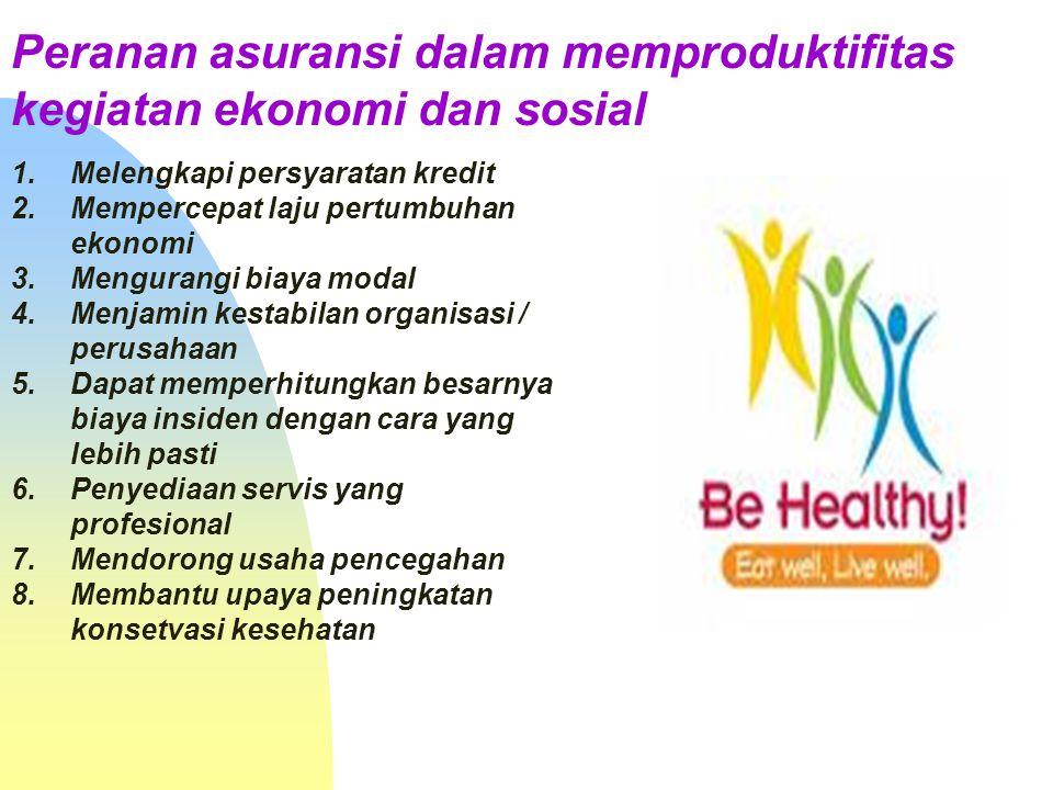 Pengaruh asuransi terhadap kehidupan sosial ekonomi 1.Kontribusi terhadap lembaga sosial 2.Memberikan manfaat untuk pemupukan kekayaan 3.Stimulasi men