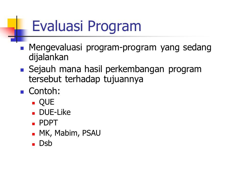 Evaluasi Program Mengevaluasi program-program yang sedang dijalankan Sejauh mana hasil perkembangan program tersebut terhadap tujuannya Contoh: QUE DU