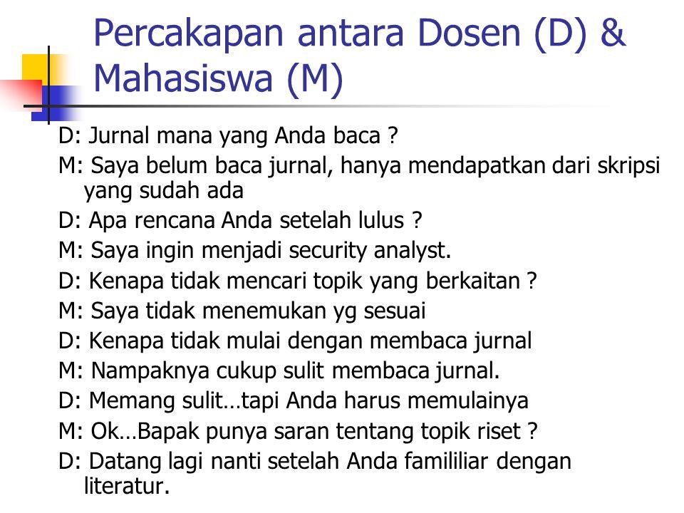 Percakapan antara Dosen (D) & Mahasiswa (M) D: Jurnal mana yang Anda baca ? M: Saya belum baca jurnal, hanya mendapatkan dari skripsi yang sudah ada D