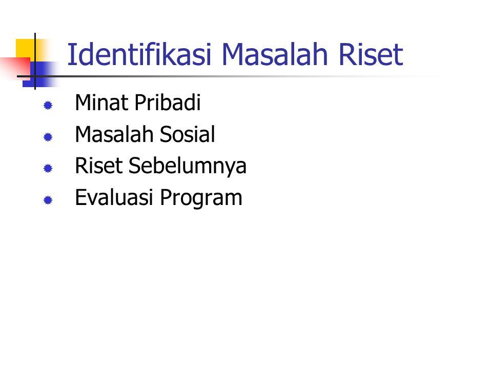 Minat Pribadi Curiosity (rasa ingin tahu) Personal Experience (pengalaman pribadi) Contoh: Fakta/pengamatan: Banyak mahasiswa yang berasal dari SMU daerah (luar Jakarta) mempunyai IP > 3 Pertanyaan: Apa yang menyebabkan mahasiswa luar Jakarta, IP-nya > 3 .