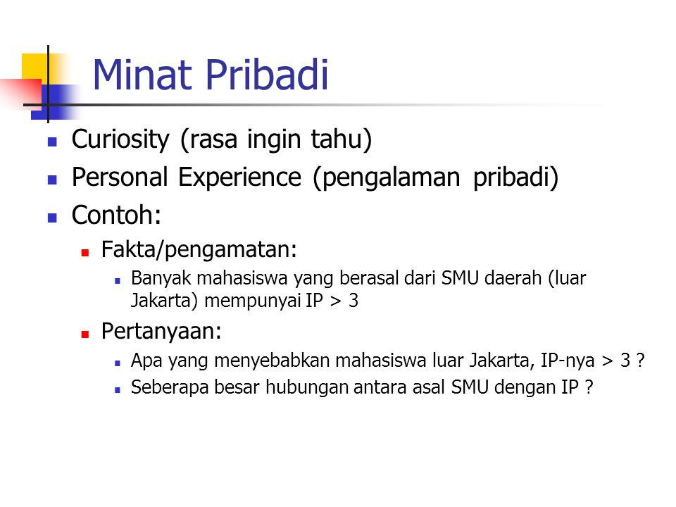 Minat Pribadi Curiosity (rasa ingin tahu) Personal Experience (pengalaman pribadi) Contoh: Fakta/pengamatan: Banyak mahasiswa yang berasal dari SMU da