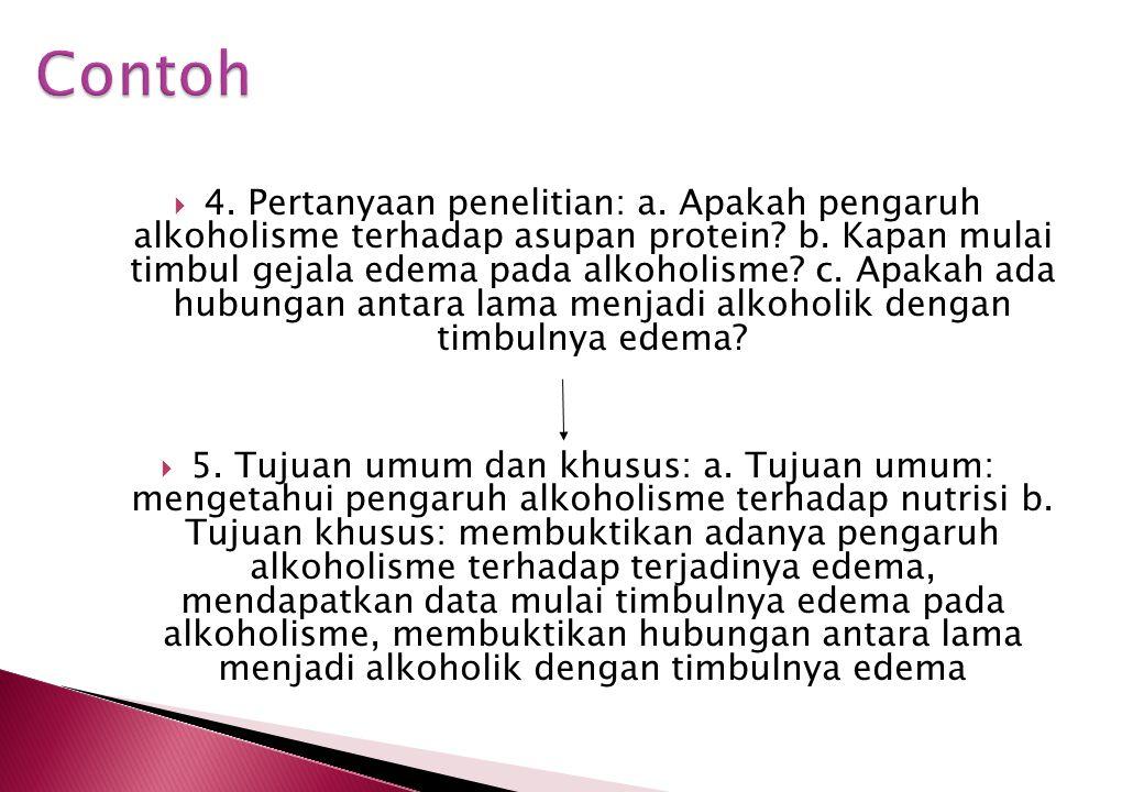  1. Area luas: alkoholisme  2. Area lebih sempit: profil alkoholik, proses menjadi alkoholik, penyebab alkoholisme, pengaruh alkoholisme pada nutris