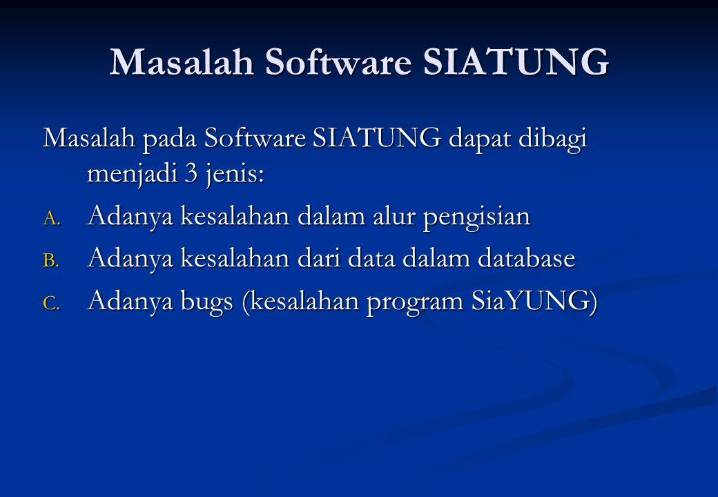 Masalah Software SIATUNG Masalah pada Software SIATUNG dapat dibagi menjadi 3 jenis: A. Adanya kesalahan dalam alur pengisian B. Adanya kesalahan dari