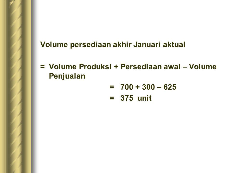 Volume persediaan akhir Januari aktual = Volume Produksi + Persediaan awal – Volume Penjualan = 700 + 300 – 625 = 375 unit