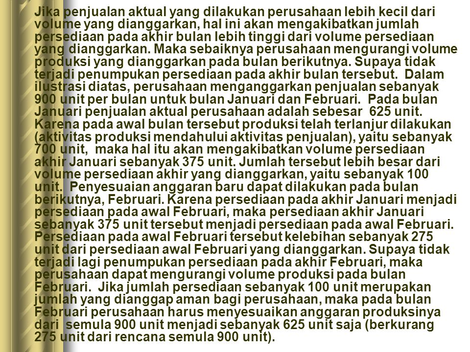 Keterangan JanuariFebruari AnggaranRealisasiAnggaranRealisasi Volume Penjualan 900980900 Volume Persediaan, akhir bulan 100.