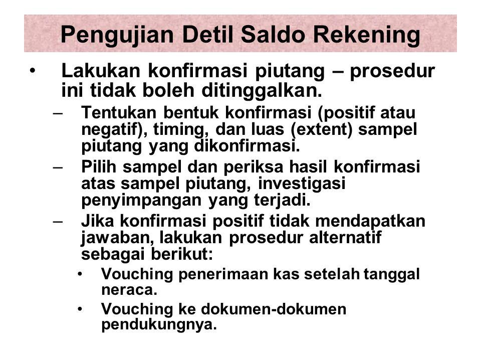 Pengujian Detil Saldo Rekening Lakukan konfirmasi piutang – prosedur ini tidak boleh ditinggalkan.