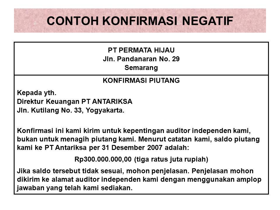 CONTOH KONFIRMASI NEGATIF PT PERMATA HIJAU Jln.Pandanaran No.