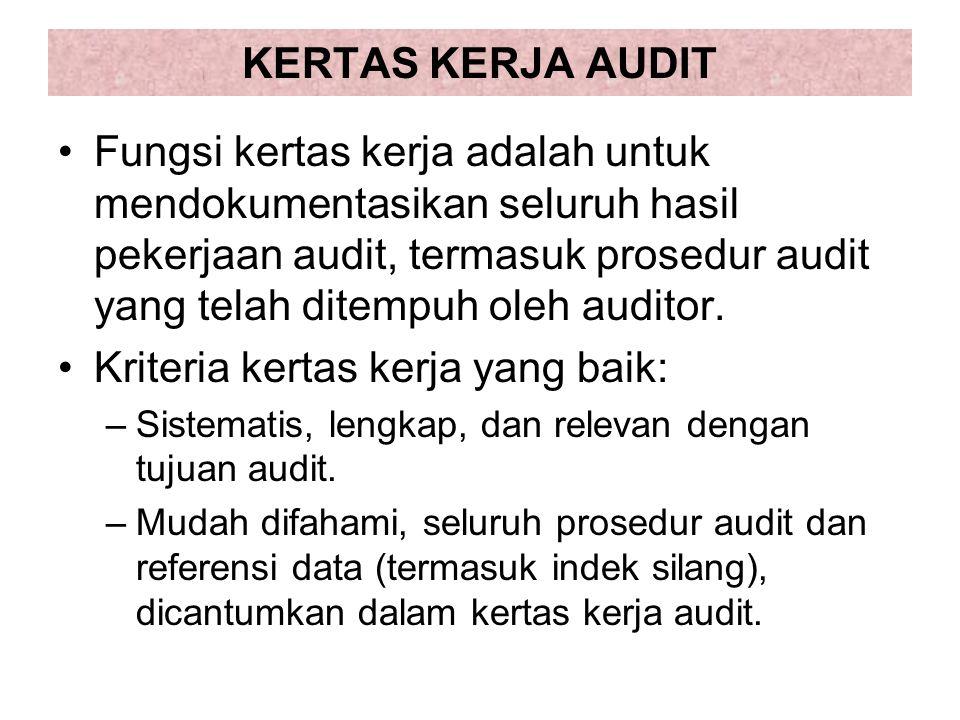 KERTAS KERJA AUDIT Fungsi kertas kerja adalah untuk mendokumentasikan seluruh hasil pekerjaan audit, termasuk prosedur audit yang telah ditempuh oleh auditor.
