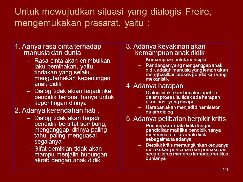 21 Untuk mewujudkan situasi yang dialogis Freire, mengemukakan prasarat, yaitu : 1. Aanya rasa cinta terhadap manusia dan dunia –Rasa cinta akan enimb