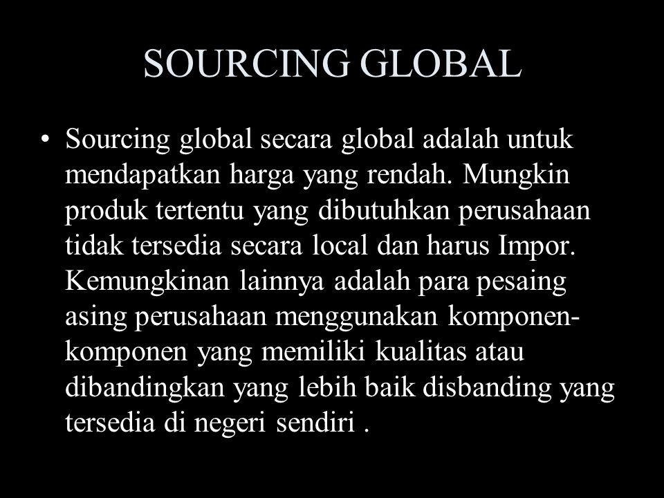 SOURCING GLOBAL Sourcing global secara global adalah untuk mendapatkan harga yang rendah. Mungkin produk tertentu yang dibutuhkan perusahaan tidak ter