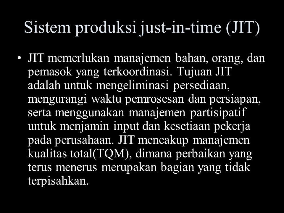 Manufaktur Tersinkronisasi Tujuan manufaktur ini adalah penjadwalan manufaktur yang tidak seimbang, alih-alih penjadwalan seimbang dari JIT, perhatian di pusatkan pada bottleneck system manufaktur, dan penjadwalan untuk seluruh operasi dikendalikan oleh output dari operasi bottleneck.