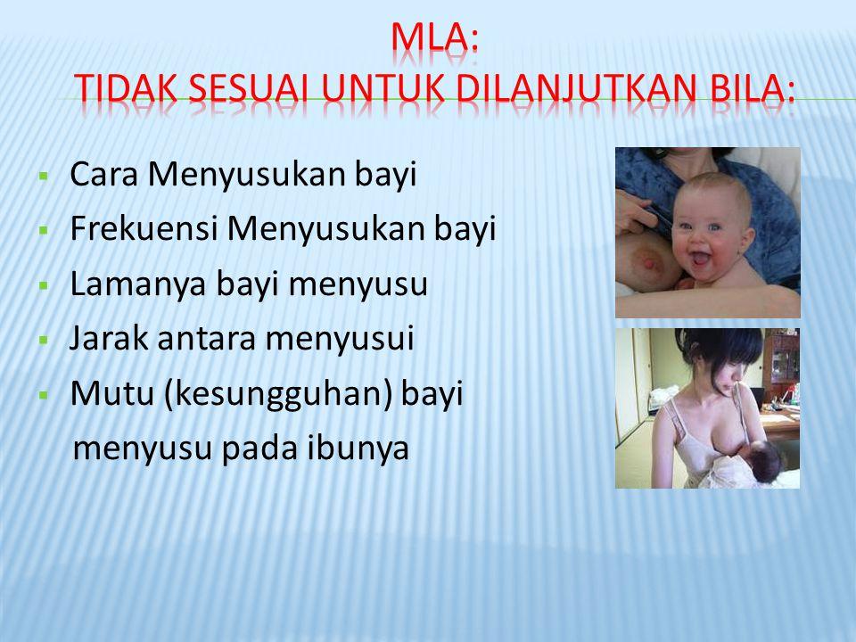  Cara Menyusukan bayi  Frekuensi Menyusukan bayi  Lamanya bayi menyusu  Jarak antara menyusui  Mutu (kesungguhan) bayi menyusu pada ibunya
