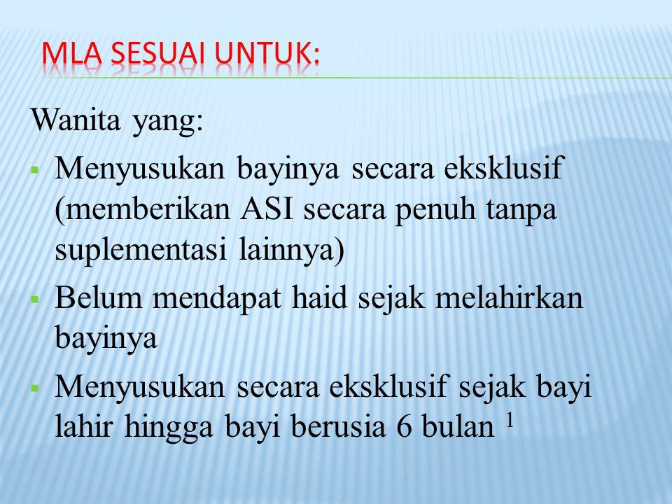 Wanita yang:  Menyusukan bayinya secara eksklusif (memberikan ASI secara penuh tanpa suplementasi lainnya)  Belum mendapat haid sejak melahirkan bayinya  Menyusukan secara eksklusif sejak bayi lahir hingga bayi berusia 6 bulan 1