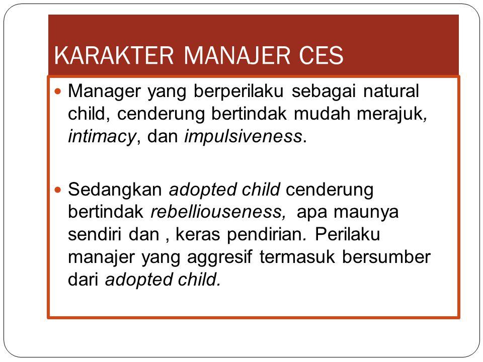 KARAKTER MANAJER CES Manager yang berperilaku sebagai natural child, cenderung bertindak mudah merajuk, intimacy, dan impulsiveness. Sedangkan adopted