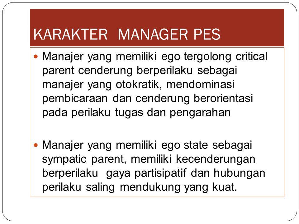 KARAKTER MANAGER PES Manajer yang memiliki ego tergolong critical parent cenderung berperilaku sebagai manajer yang otokratik, mendominasi pembicaraan