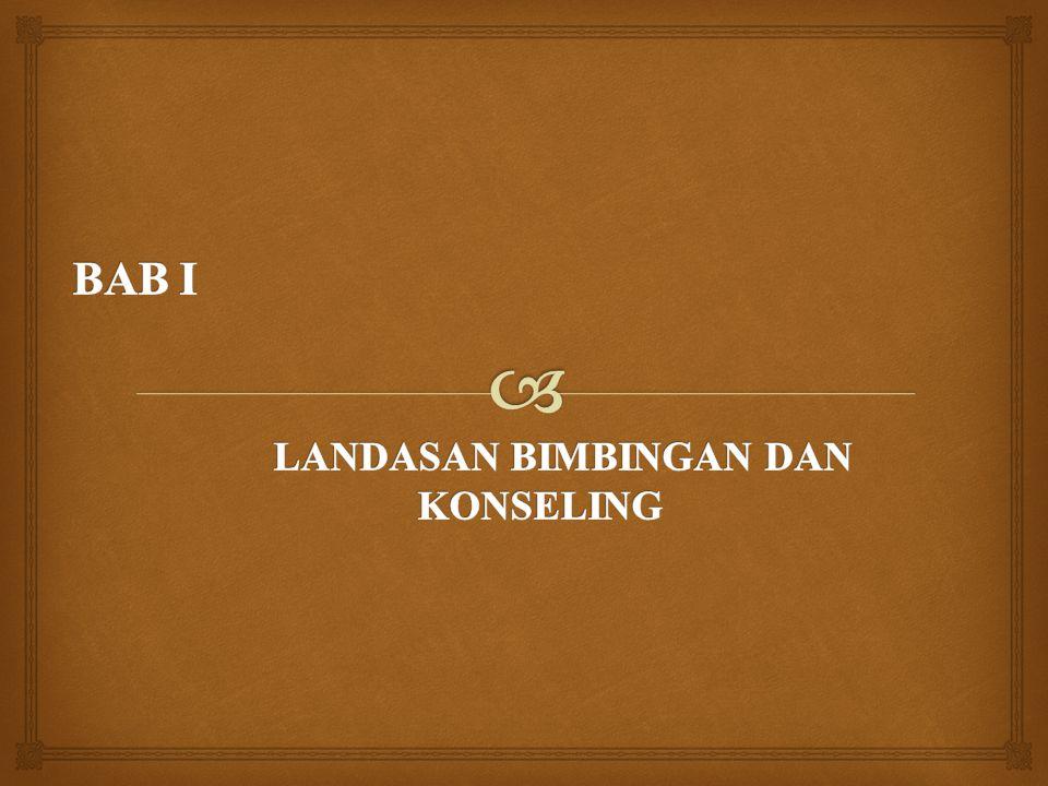  Layanan bimbingan dan konseling merupakan bagian integral dari pendidikan di Indonesia.