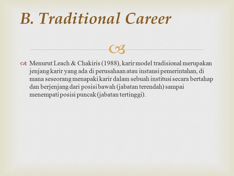   Menurut Leach & Chakiris (1988), karir model tradisional merupakan jenjang karir yang ada di perusahaan atau instansi pemerintahan, di mana seseorang menapaki karir dalam sebuah institusi secara bertahap dan berjenjang dari posisi bawah (jabatan terendah) sampai menempati posisi puncak (jabatan tertinggi).