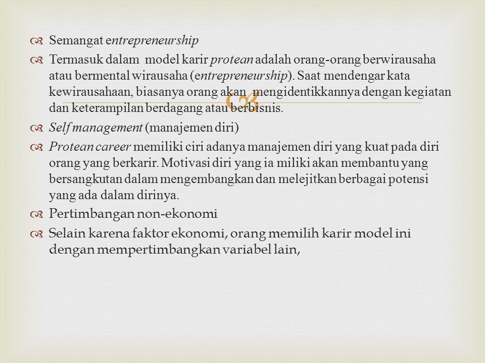   Semangat entrepreneurship  Termasuk dalam model karir protean adalah orang-orang berwirausaha atau bermental wirausaha (entrepreneurship).