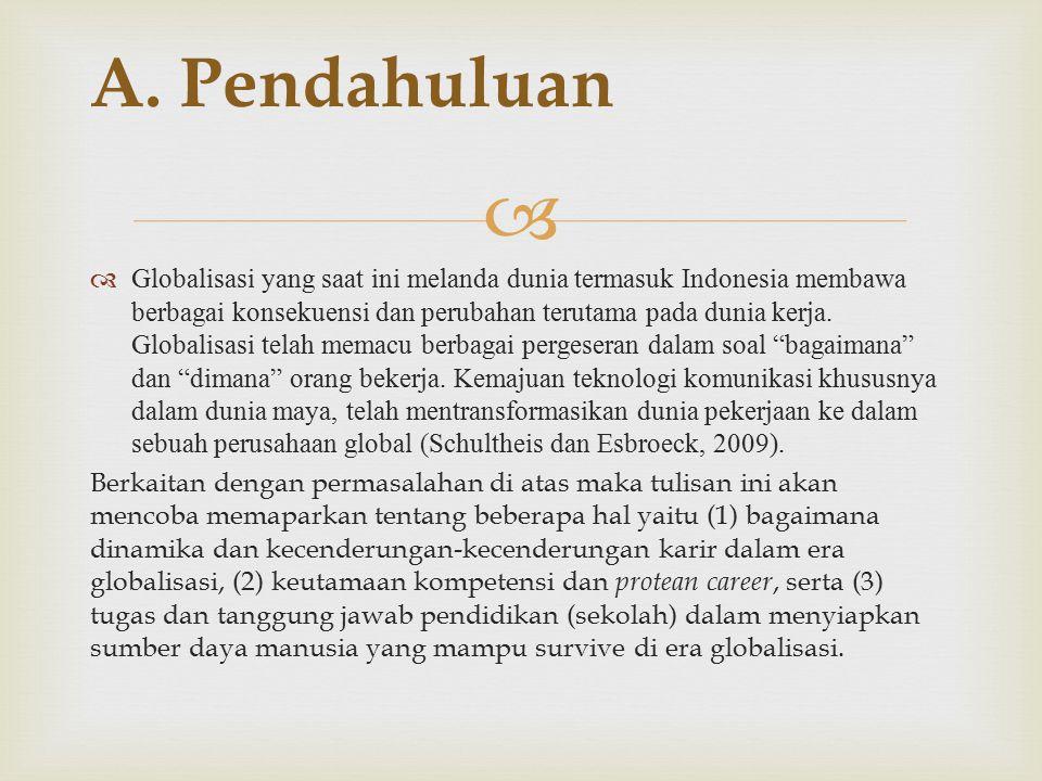   Globalisasi yang saat ini melanda dunia termasuk Indonesia membawa berbagai konsekuensi dan perubahan terutama pada dunia kerja.