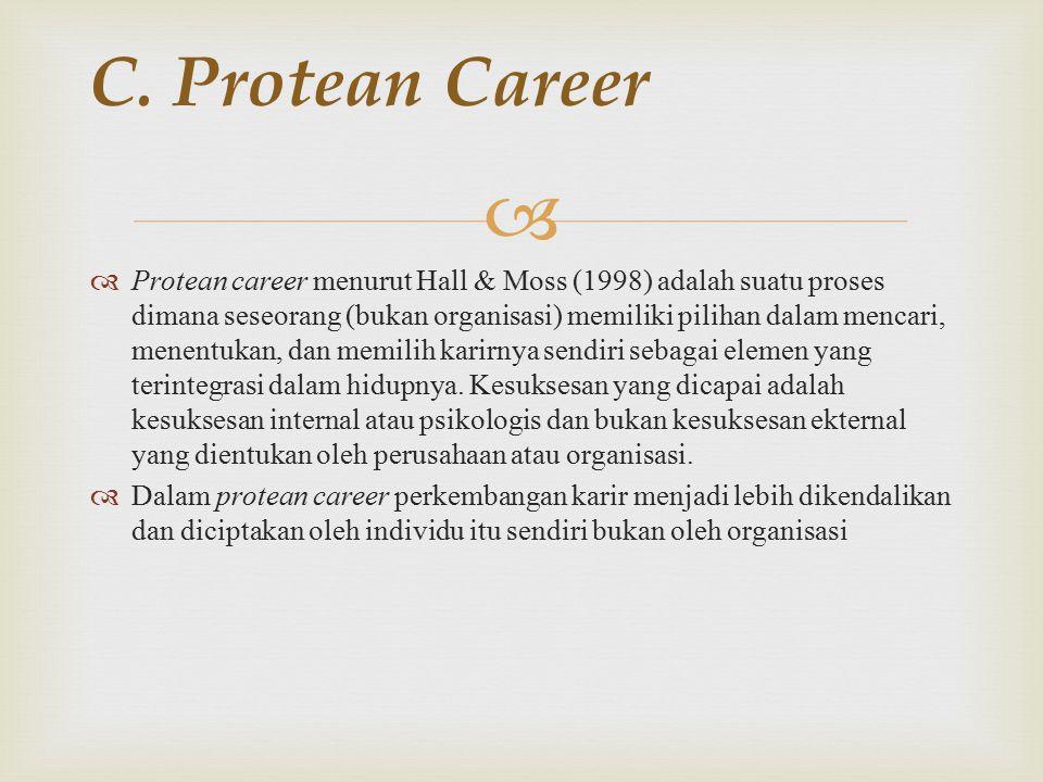   Protean career menurut Hall & Moss (1998) adalah suatu proses dimana seseorang (bukan organisasi) memiliki pilihan dalam mencari, menentukan, dan memilih karirnya sendiri sebagai elemen yang terintegrasi dalam hidupnya.
