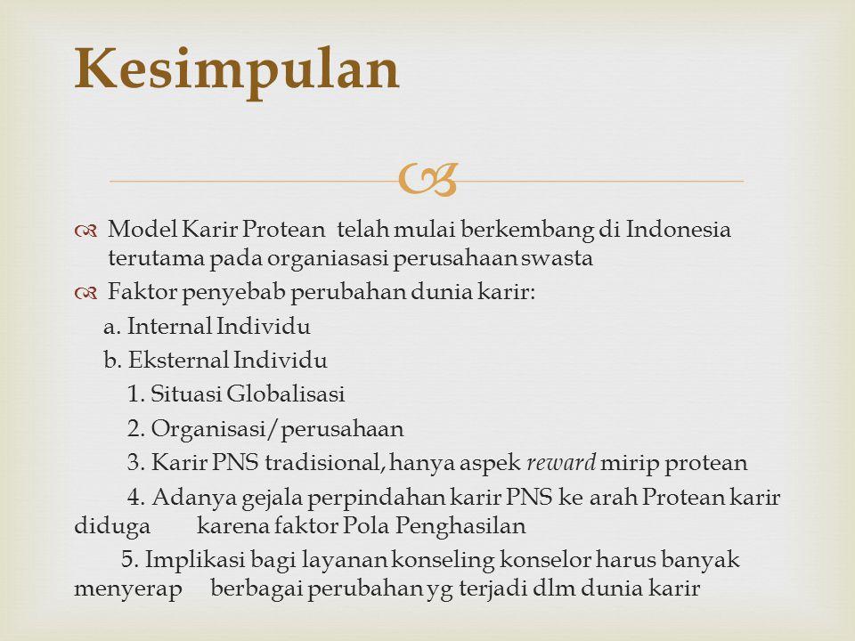   Model Karir Protean telah mulai berkembang di Indonesia terutama pada organiasasi perusahaan swasta  Faktor penyebab perubahan dunia karir: a.
