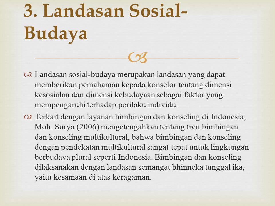  Landasan sosial-budaya merupakan landasan yang dapat memberikan pemahaman kepada konselor tentang dimensi kesosialan dan dimensi kebudayaan sebagai faktor yang mempengaruhi terhadap perilaku individu.