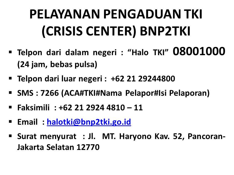 Telpon dari dalam negeri : Halo TKI 08001000 (24 jam, bebas pulsa)  Telpon dari luar negeri : +62 21 29244800  SMS : 7266 (ACA#TKI#Nama Pelapor#Isi Pelaporan)  Faksimili : +62 21 2924 4810 – 11  Email : halotki@bnp2tki.go.idhalotki@bnp2tki.go.id  Surat menyurat : Jl.