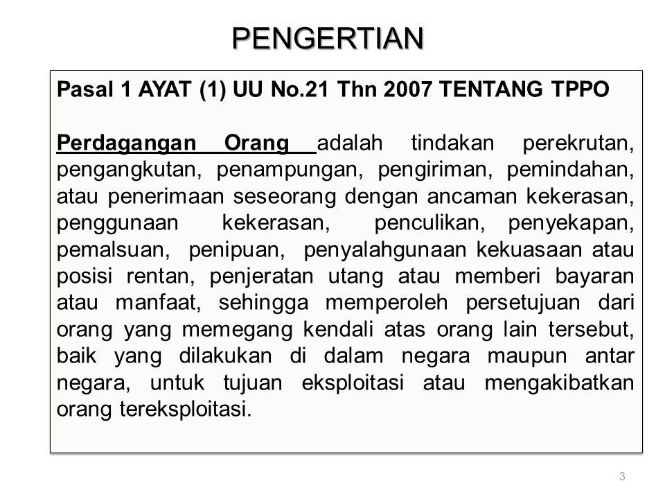 PENGERTIAN 3 Pasal 1 AYAT (1) UU No.21 Thn 2007 TENTANG TPPO Perdagangan Orang adalah tindakan perekrutan, pengangkutan, penampungan, pengiriman, pemi