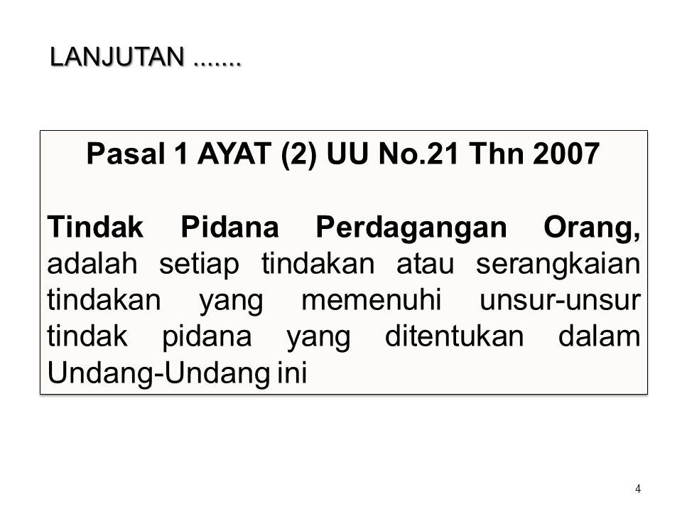 LANJUTAN....... LANJUTAN....... 4 Pasal 1 AYAT (2) UU No.21 Thn 2007 Tindak Pidana Perdagangan Orang, adalah setiap tindakan atau serangkaian tindakan