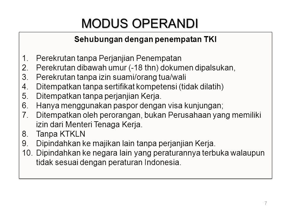 MODUS OPERANDI 7 Sehubungan dengan penempatan TKI 1.Perekrutan tanpa Perjanjian Penempatan 2.Perekrutan dibawah umur (-18 thn) dokumen dipalsukan, 3.P