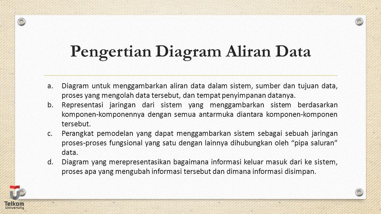 Pengertian Diagram Aliran Data a.Diagram untuk menggambarkan aliran data dalam sistem, sumber dan tujuan data, proses yang mengolah data tersebut, dan