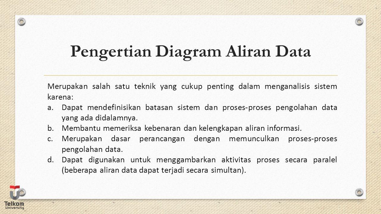 Elemen Diagram Aliran Data Aliran paket informasi dari satu bagian sistem ke bagian sistem lainnya.