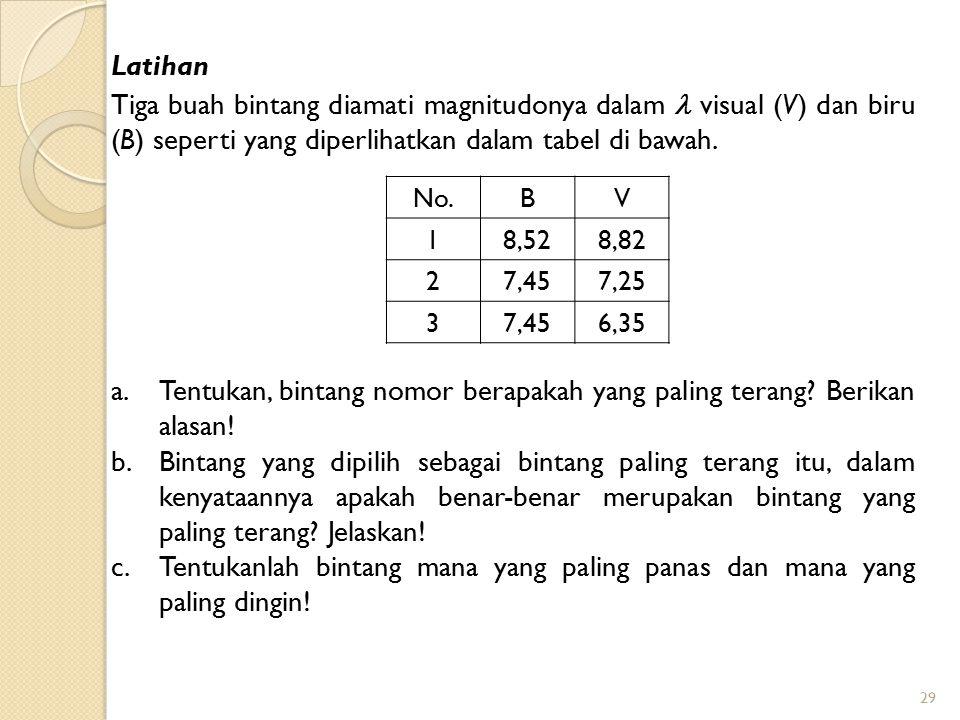 29 Tiga buah bintang diamati magnitudonya dalam visual (V) dan biru (B) seperti yang diperlihatkan dalam tabel di bawah. a.Tentukan, bintang nomor ber