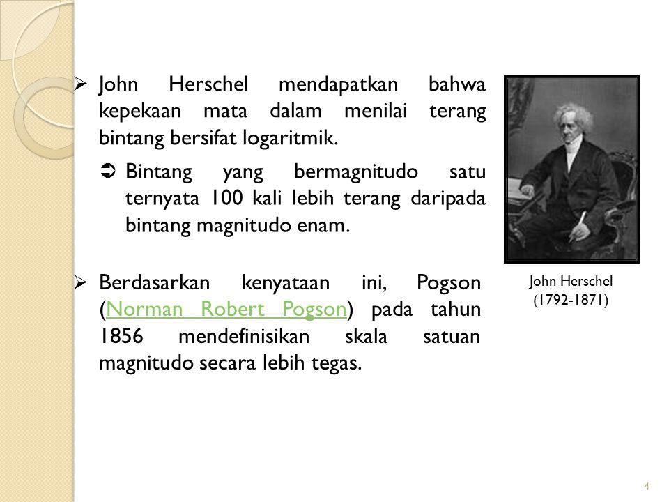 4  John Herschel mendapatkan bahwa kepekaan mata dalam menilai terang bintang bersifat logaritmik.  Bintang yang bermagnitudo satu ternyata 100 kali