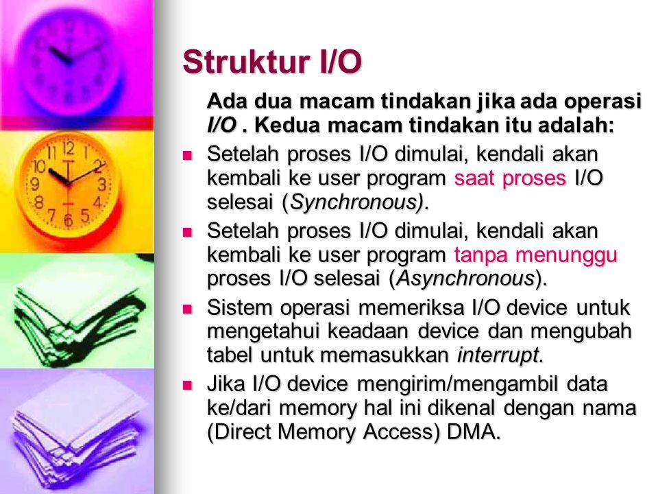 Struktur I/O Ada dua macam tindakan jika ada operasi I/O.