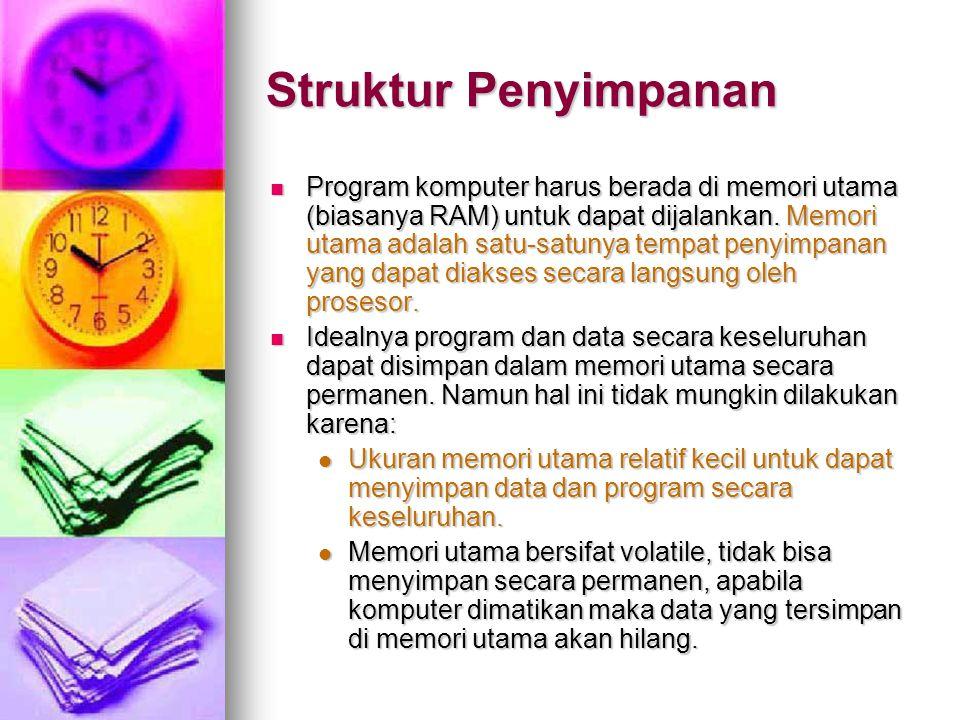 Struktur Penyimpanan Program komputer harus berada di memori utama (biasanya RAM) untuk dapat dijalankan. Memori utama adalah satu-satunya tempat peny