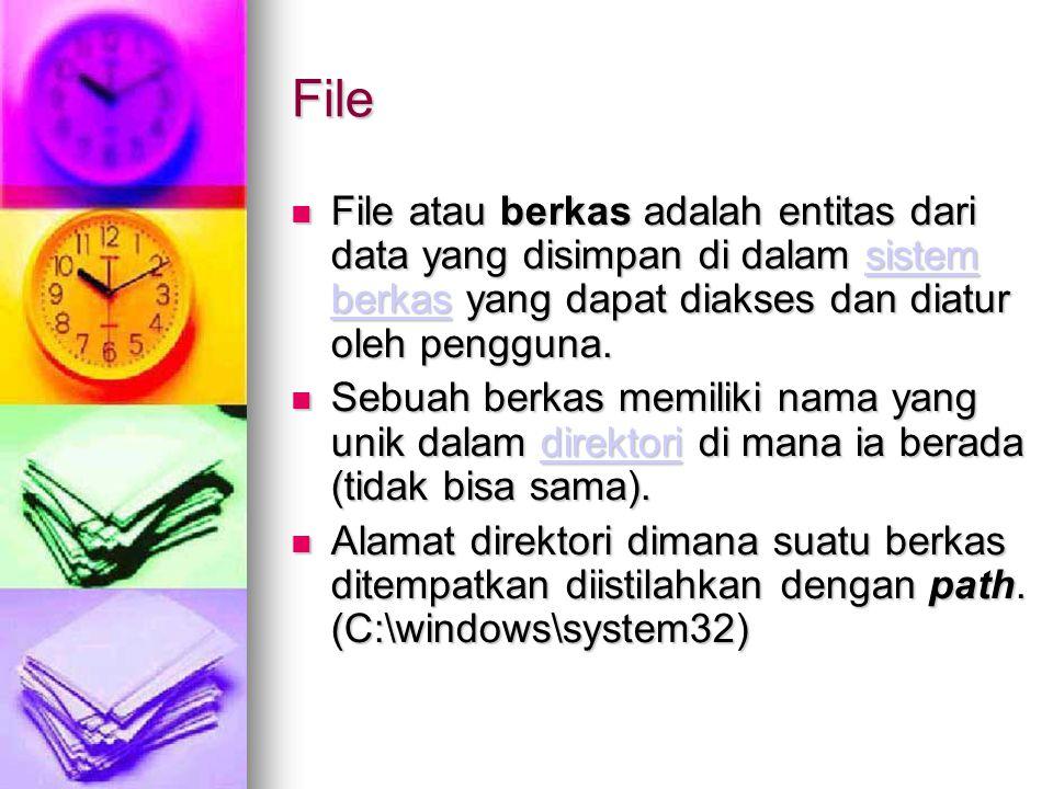 File File atau berkas adalah entitas dari data yang disimpan di dalam sistem berkas yang dapat diakses dan diatur oleh pengguna. File atau berkas adal