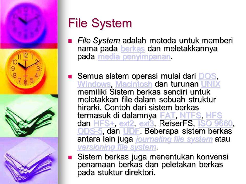 File System File System adalah metoda untuk memberi nama pada berkas dan meletakkannya pada media penyimpanan. File System adalah metoda untuk memberi
