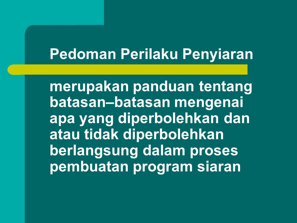 Standar Program Siaran merupakan panduan tentang batasan apa yang diperbolehkan dan atau yang tidak diperbolehkan ditayangkan dalam program siaran
