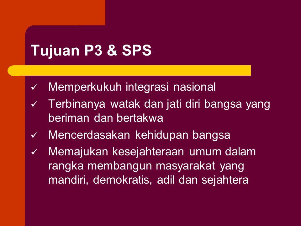 Tujuan P3 & SPS Memperkukuh integrasi nasional Terbinanya watak dan jati diri bangsa yang beriman dan bertakwa Mencerdasakan kehidupan bangsa Memajuka