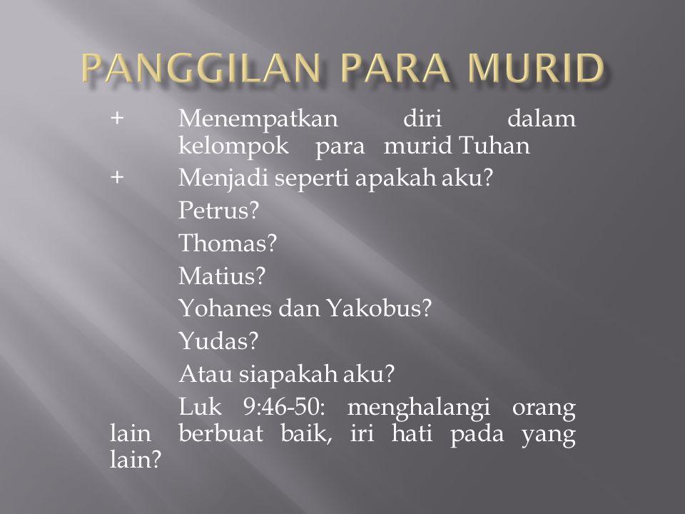 +Menempatkan diri dalam kelompok para murid Tuhan + Menjadi seperti apakah aku? Petrus? Thomas? Matius? Yohanes dan Yakobus? Yudas? Atau siapakah aku?