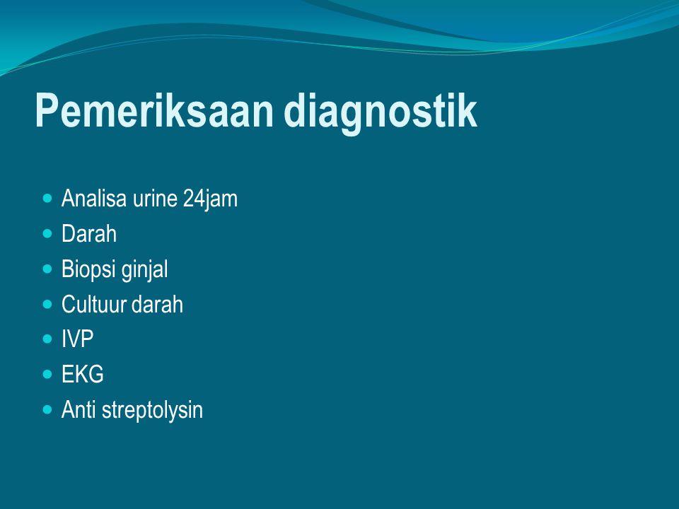 Pemeriksaan diagnostik Analisa urine 24jam Darah Biopsi ginjal Cultuur darah IVP EKG Anti streptolysin